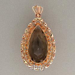 Vintage 1950s 16ct 14k Rose Gold Open Work Frame Pear Smokey Quartz Pendant