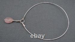 Vintage 1957 Ceson Sterling Silver 925s & Rose Quartz Pendant & Necklace Sweden