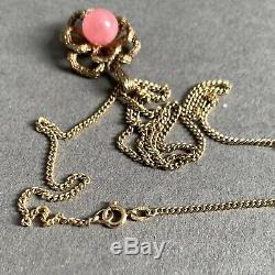 Vintage 8ct Gold 333 Curb Link 18 Chain Necklace Rose Quartz Pendant 6.85g