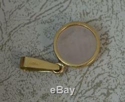 Vintage 9 Carat Gold Rose Quartz Pendant p1948