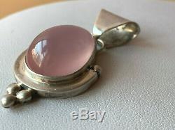 Vintage 925 Sterling Large Rose Quartz Necklace Pendant Pin Broach Lot Of 2