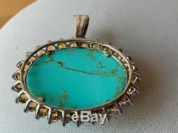 Vintage 925 Sterling Oversized Turquoise Citrine Pendant & Earrings Lot Of 2