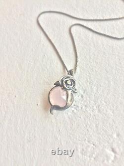 Vintage 925 Sterling Silver Dainty Floral Necklace With Natural Rose Quartz