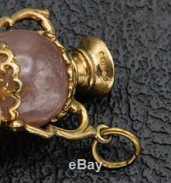 Vintage 9K Yellow Gold Rose Quartz Heart Urn Vase Charm Pendant 4.7 Grams