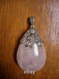 Vintage Amy Sandheim Attr Arts & Crafts Silver & Rose Quartz Pendant