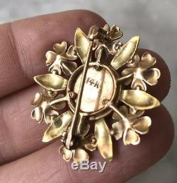Vintage Antique Estate 14K YellowithRose Gold Quartz Veins Pin Brooch Pendant 6.2g