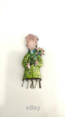 Vintage Art Deco 1930 Enamel Rose Quartz Pendant