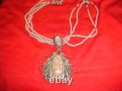 Vintage Beautiful Rose Quartz Necklace. 999 Silver Art Deco Beaded Pendant