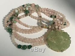 Vintage China S Silver Carved Jade, Rose Quartz, Beads Pendant 3 Strand Necklace