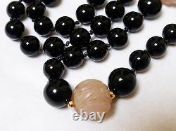 Vintage Chinese 14k Gold Carved Rose Quartz, Onyx Bead Necklace Pendant 32 Long