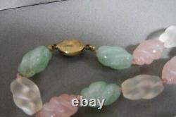 Vintage Chinese Carved Rose Clear Quartz Jade Color Stone Necklace Frog Pendant