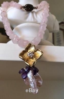 Vintage Chinese Export Rose Quartz Bead Silver Vermeil Necklace Diamond Pendant