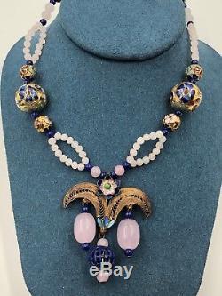 Vintage Chinese Export Rose Quartz Lapis Laz Gold Over Silver Cloisonne Necklace