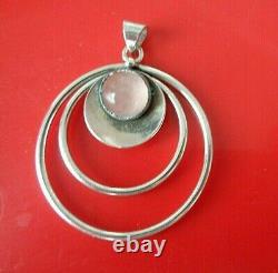 Vintage Danish Stg Silver Modernist Rose Quartz Pendant N. E. From of Denmark