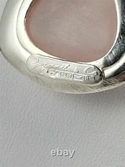 Vintage Erik Granit Finland Sterling & Rose Quartz Modernist Pendant Necklace