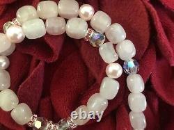 Vintage Estate Carved Rose Quartz Pendant Necklace With Swarovski Beads