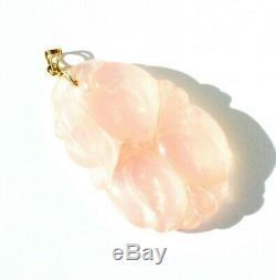 Vintage Estate Chinese Hand Carved Rose Quartz Fruit Pendant 14k Gold