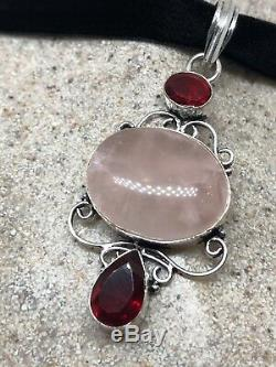 Vintage Genuine Rose Quartz Silver Necklace Pendant Choker