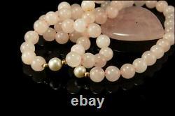 Vintage Hk 14k Gold Pearl Heart Rose Quartz Pendant Necklace 1m8