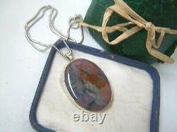 Vintage Large Solid Sterling Silver Moss Agate Rose Quartz Pendant 18 Necklace