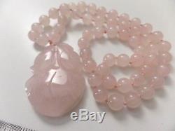 Vintage Natural Rose Quartz Beads Pendant Necklaces