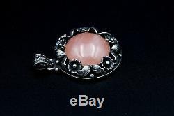 Vintage Niels Erik FROM Pendant Sterling Silver Rose Quartz Stone