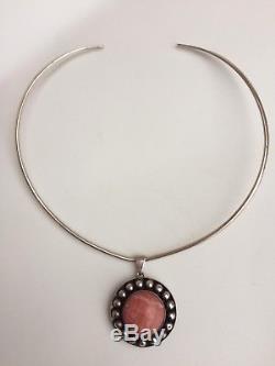 Vintage Niels Erik From Necklace Pendant Sterling Silver Rose Quartz Stone 925S