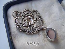 Vintage Ornate Openwork Solid Sterling Silver Rose Quartz Lavaliere Pendant
