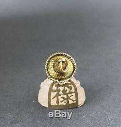 Vintage Retro 14K Gold & Rose Quartz Carved Buddha Good Luck Charm Pendant