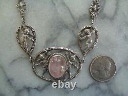 Vintage Signed Peruzzi Sterling Cherubs Necklace with Rose Quartz Cabochon Stone