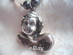 Vintage Silver Cherub Angel Pendant Necklace Rose Quartz Black Hematite Beads