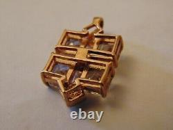 Vintage Solid 9ct Rose Gold Clear Quartz & Diamond Pendant Hallmarked 3.7g