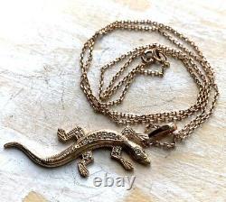 Vintage Solid Rose Gold 14K 585 3D lizard pendant necklace Crystall