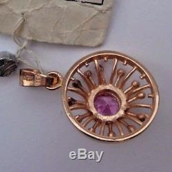 Vintage Soviet Russian 583,14k Solid Gold Pendant With Rose Quartz