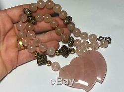 Vintage Sterling Silver 925 Beaded Pink Rose Quartz Pendant Necklace