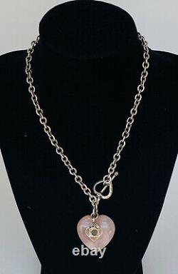 Vintage Sterling Silver AZUNI LONDON Rolo Link Heart Rose Quartz Toggle Necklace