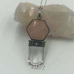 Vintage Sterling Silver Rose Quartz & Crystal Pendant Necklace 18 Chain