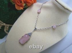 Vintage Sterling Silver Rose Quartz & Marcasite Lavalier Pendant 16.5 Necklace