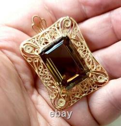 Vintage Stunning Rare 14k Rose Gold Smoky Quartz 16.8 Gram Pin Brooch Pendant