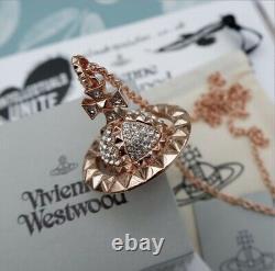 Vivienne Westwood Rose Gold Mayfair 3D Crystal Orb Pendant Necklace