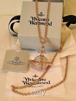 Vivienne Westwood large rose gold tone Mayfair 3D Crystal Orb pendant necklace