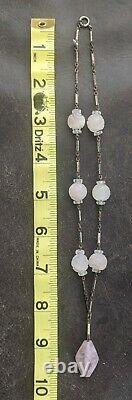 Vtg Art Deco Carved Pink Rose Quartz Pendant Necklace 16 Enamel Sterling Clasp
