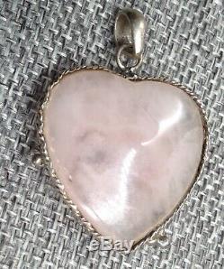 Vtg Rare Large ROSE QUARTZ stone & STERLING flower wrapped HEART PENDANT silver