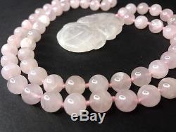 Vtg Rose Quartz Necklace Carved Knotted Strand Pink Flower Pendant Estate