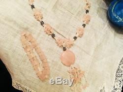 Vtg Rose Quartz Pearl Sterling Silver Polished Stone Necklace Strand Pendant 16