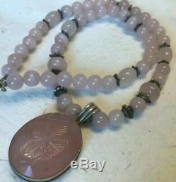 Vtg Sterling Silver Carved Rose Quartz Pendant Round Beads Necklace 22 length