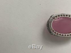 WOW JUDITH RIPKA JR Two 925 Sterling 18K Diamond Rose Quartz Enhancer Pendant