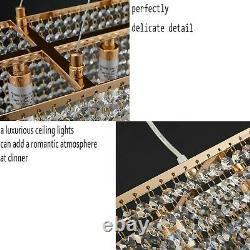 WTAPE Rose Gold Rectangle Island Crystal Chandelier Pendant Lighting Ceiling