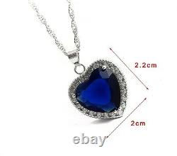 Wholesale 20 pic Silver Titanic Rose Heart Of The Ocean Crystal Necklace Pendant