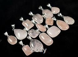 Wholesale Lot 100 PCs. Natural New Rose Quartz 925 Silver Plated Bezel Pendants